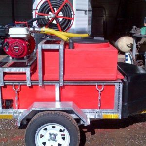 600lt Fire fighting Skid Unit mounted on custom Off Road Trailer